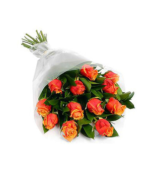 Hand Bunch of 12 Orange Roses