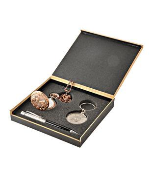 Coal Bronze Pocket Watch, Crystal Black Pen   50 years Calendar Keyring Gift Set
