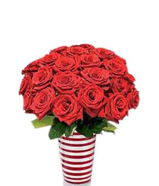 Red Roses arrangement in fancy vase