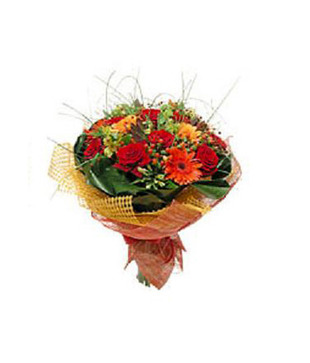 Mixed Yellow And Red Flowers Hand Bunch With Goldan Net