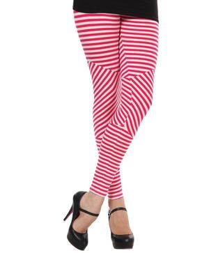 Femmora Red-White Striped Cotton Spandex Leggings