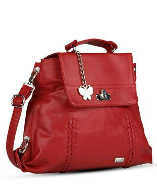 Butterflies Red Flap Lock Sling Bag