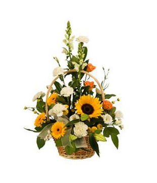 8 To 10 Orange Lillies Arrangment In A Basket