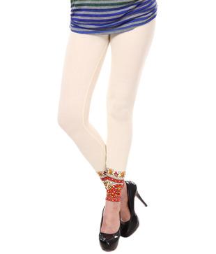 Femmora Cream-Red Printed Cotton Spandex Leggings