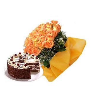 Yellow Lillies And Orange Gerberas Arrangment