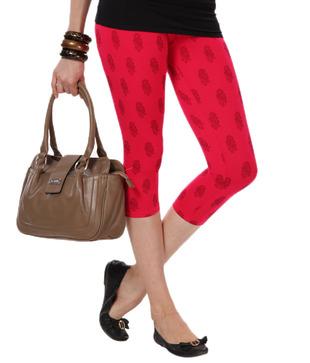 Femmora Coral Red Printed Cotton Spandex 3/4th Leggings