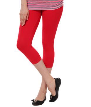 Femmora Enchanting Red Cotton Spandex 3/4th Leggings