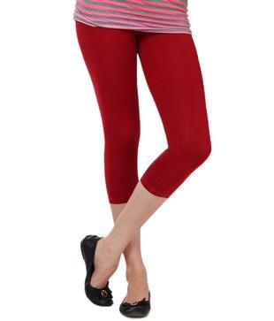 Femmora Fabulous Crimson Red Cotton Spandex 3/4th Leggings