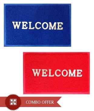 FabLooms Red   Blue Welcome Doormat Combo- Set Of 2