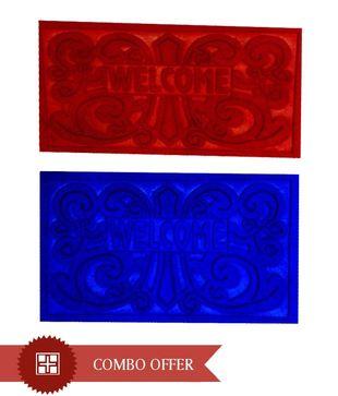 FabLooms Velour Red   Blue Doormat Combo- Set Of 2