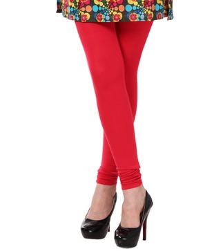 Femmora Zesty Red Cotton Spandex Leggings