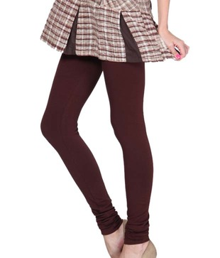 Femmora Dark Brown Cotton-Spandex Leggings