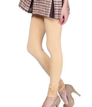 Femmora Cream Cotton-Spandex Leggings