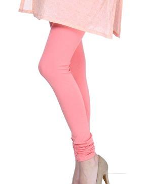Femmora Coral Pink Cotton-Spandex Leggings