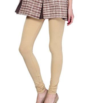 Femmora Beige Cotton-Spandex Leggings