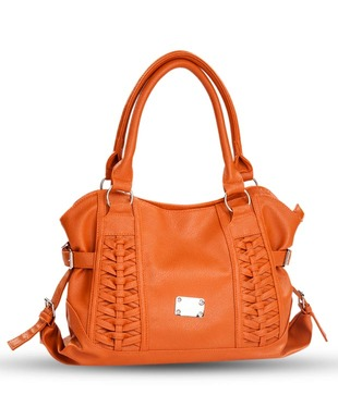 Cappucino Orange Criss-Cross Handbag