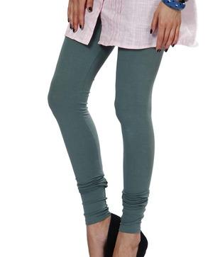 Femmora Teal Green Cotton-Spandex Leggings