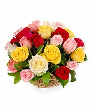 15 Mix Colour Roses Basket