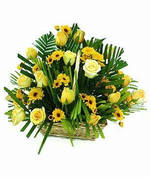 Yellow Seasonal Flowers Basket