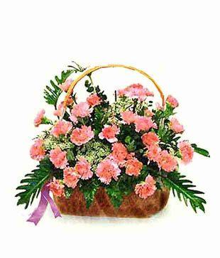 24 Pink Carnations Basket