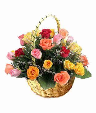 18 Mix Colour Roses Basket