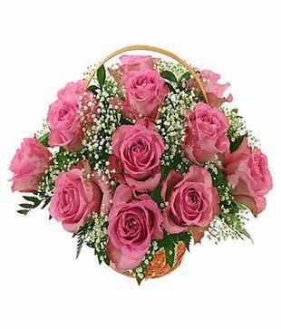 15 Pink Roses Basket
