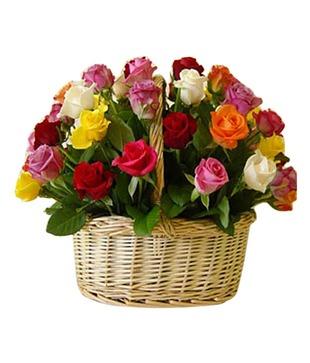 35 Colourful Roses Basket