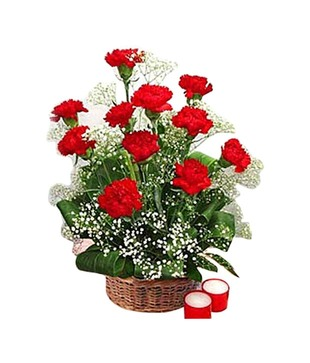 15 Romantic Red Carnations Basket