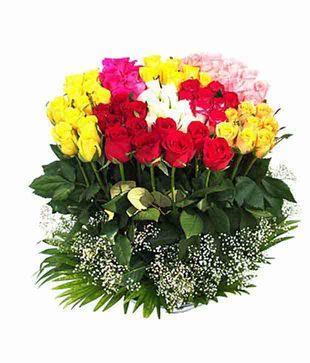 50 Mix Colour Roses Bouquet