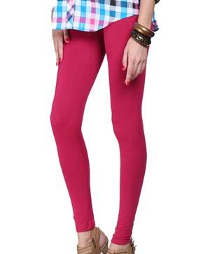 Femmora Cherry Red Cotton-Spandex Leggings
