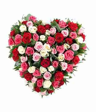 50 Mix Roses Heart Shape Basket