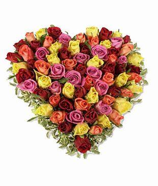75 Mix Roses Heart Shape Basket