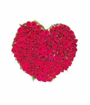100 Red Roses Heart Shape Basket