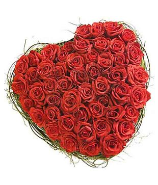 150 Red Roses Heart Shape Basket