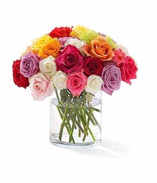 Mix Colour Roses Vase Arrangement