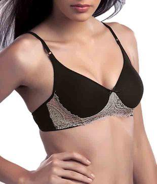 Khazana Black Cotton-Spandex Non Padded Bra
