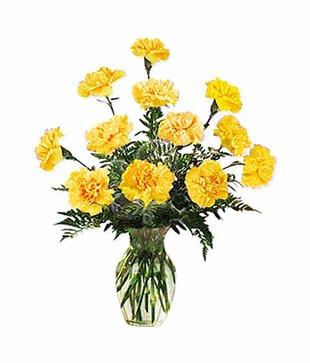 Shiny Yellow Carnation Vase Arrangement