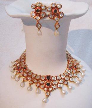 Bhrti Kundan Meena Brass Necklace Set Primary image