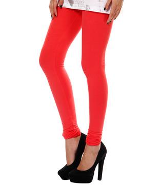 Femmora Ruby Red Cotton-Spandex Leggings