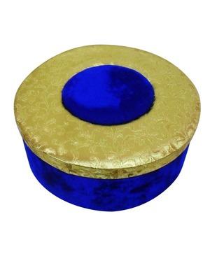 Welpro Fabric   Velvet Round Box - Gold   Blue (Large)