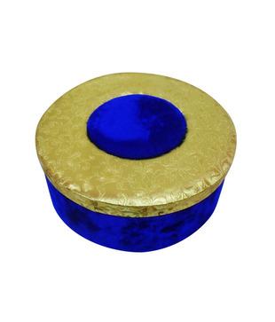 Welpro Fabric   Velvet Round Box - Gold   Blue (Medium)