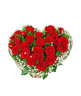 Valentine Two Dozen Red Rose Heart