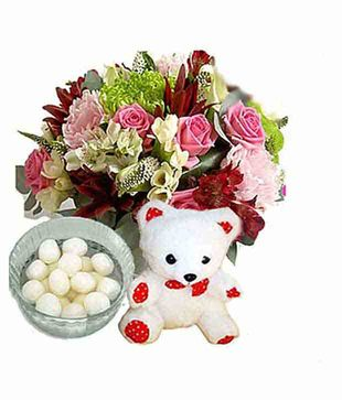 Seasonal Flowers with Rasgullas N Teddy Bear