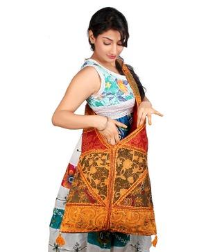 Desi Crown Patchwork Design Smart Jhola Bag