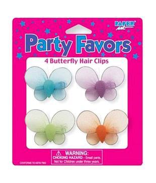 Wanna Party Butterflies   Flower Hair Clips - 4 Pc.