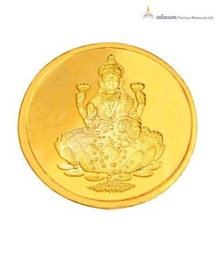 Infinium 24kt 1g 995 Purity BIS Hallmarked Laxmi Gold Coin
