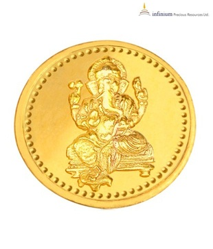 Infinium 24kt 5g 995 Purity BIS Hallmarked Ganesha Gold Coin