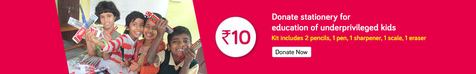 Contribute Stationery Kits At Rs 10 For Education Of Underprivileged Kids
